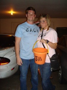 Award-winning easy Halloween costume: Jack & Jill after they fell down the hill.
